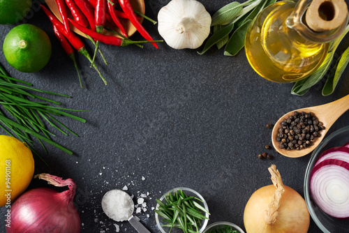 Keuken foto achterwand Boodschappen Spices and Food Ingredients on Slate Background