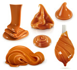 Sweet caramel, set realistic vector illustration