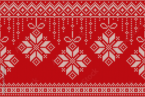 Cotton fabric Winter Holiday Seamless Knitting Pattern. Christmas and New Year