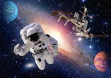 Astronaut spaceman suit people planet outer space shuttle station spaceship. Elements of this image furnished by NASA.