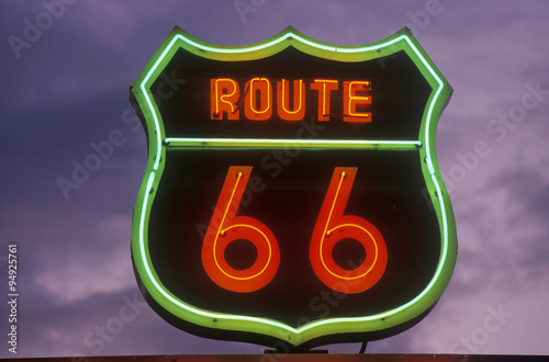 Poster A neon sign reading Route 66 in Barstow, California