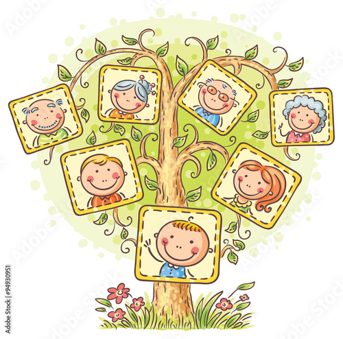 Fototapeta Family tree in pictures, little child with his parents and grandparents