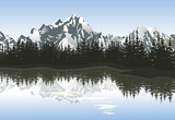 Fototapety Mountain landscape with lake and peaks. Vector illustration.