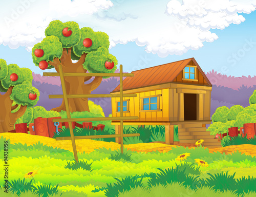 fototapeta na ścianę Cartoon farm scene with apple trees - illustration for the children
