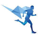 Stylized runner, geometric pattern