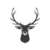 Deer Head Silhouette Isolated On White Background Vector object