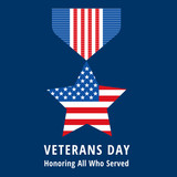 Fototapety veterans day flat medals icons