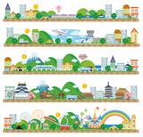 Fototapety 町並み(海辺 飛行場 新幹線 日本 遊園地)
