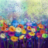 Fototapety Abstract floral watercolor painting. Hand paint White, Yellow, Pink and Red color of daisy- gerbera flowers in soft color on blue- green color background.Spring flower seasonal nature background