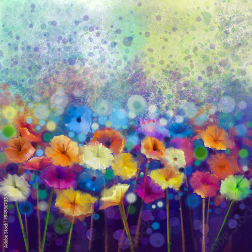 Abstract floral watercolor painting. Hand paint White, Yellow, Pink and Red color of daisy- gerbera flowers in soft color on blue- green color background.Spring flower seasonal nature background - 94986735