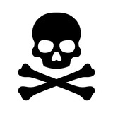 Fototapety Crossbones and skull death flat icon