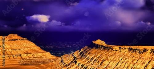 Deurstickers Violet Volcanic landscape panorama