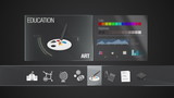 Art icon for Education contents.Digital display application. Education icon set animation,school, world history,science,physical education, art, library, test, graduation(included Alpha)