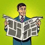 Fototapety Man businessman reading news newspaper