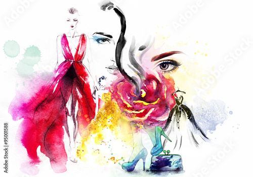 Fototapety, obrazy : fashion collage. watercolor illustration