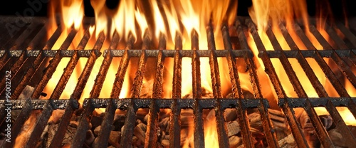 Fototapeta BBQ Party, Picnic Or Cookout Concept With Empty Flaming Charcoal