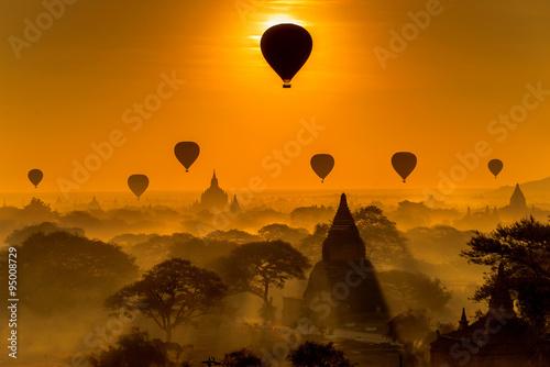 Silhouette of temples in Bagan, Myanmar Poster