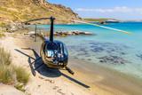 Small private helicopter on the beach of Paros island, Cyclades, Greece. - 95009300
