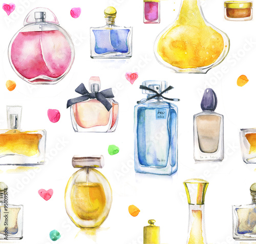 Materiał do szycia watercolor seamless background with perfumes