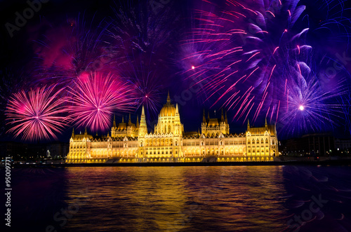 Juliste Fireworks and Hungarian parliament, Budapest