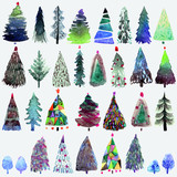 Fototapety Big collection of watercolor Christmas tree isolated on a white background.
