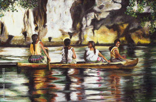 Painting four Indies on a boat on the Amazon river. - 95024555