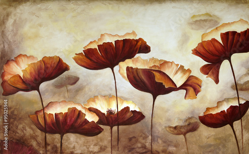 Fototapeta Painting poppies canvas