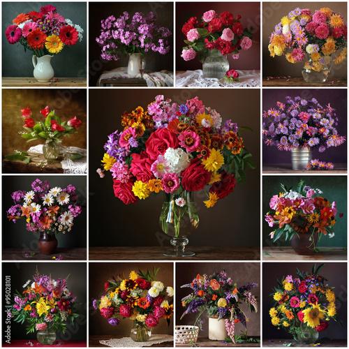 Obraz na Plexi Коллаж из натюрмортов с букетами. Цветочный фон.
