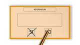 animated pencil choosing a preference on sheet referendum poster