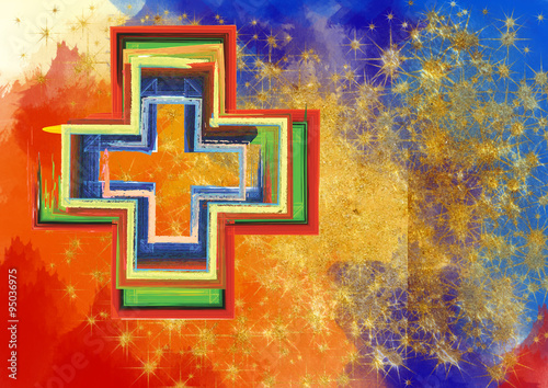 Naklejka Abstract artistic colorful cross in tempera or watercolor backgr