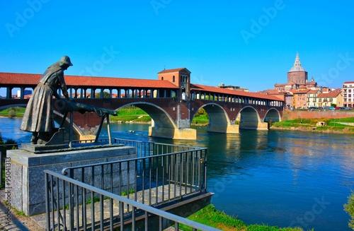 le fameux pont de pavie, dans la lombardie en italie Poster