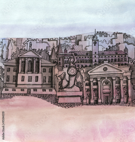 the panoramic view of the Warsaw city hand drawn outline building isolated on tne color background - 95044319