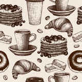 Fototapety breakfast food seamless pattern
