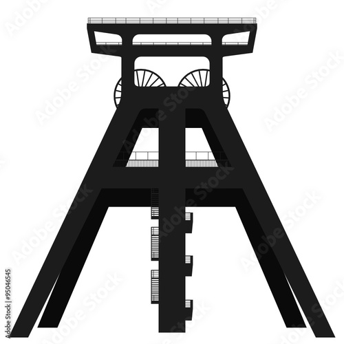 foto auf acrylglas f rderturm f rderger st headframe silhouette nikkel. Black Bedroom Furniture Sets. Home Design Ideas