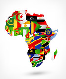 Vector map of Africa with flags and location on world map