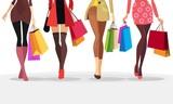 ladies walking down the street with bag