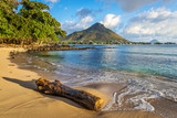 Rocky and sandy shore in Tamarin Bay, Mauritius