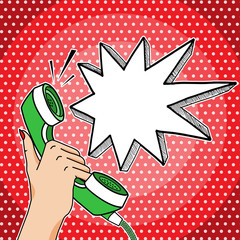 Retro pop art vector hand holding telephone with empty think bubble for your text, answering phone comic style illustration.