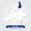Постер, плакат: Finland Europe administrative map