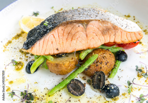 """grilled salmon steak pesto"""" Stock photo and royalty-free images on ..."""