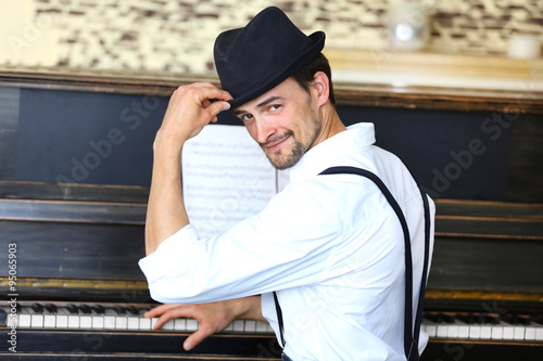 Handsome Man Photo With Piano 119
