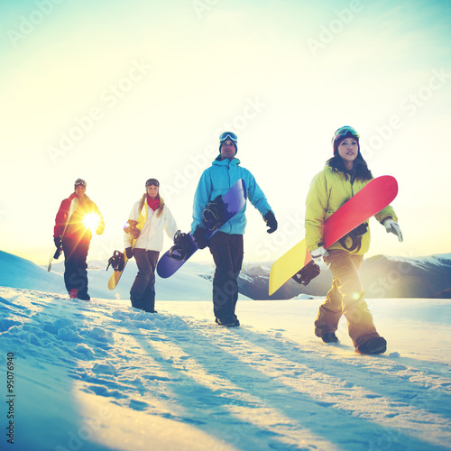 People Snowboard Winter Sport Friendship Concept Poster