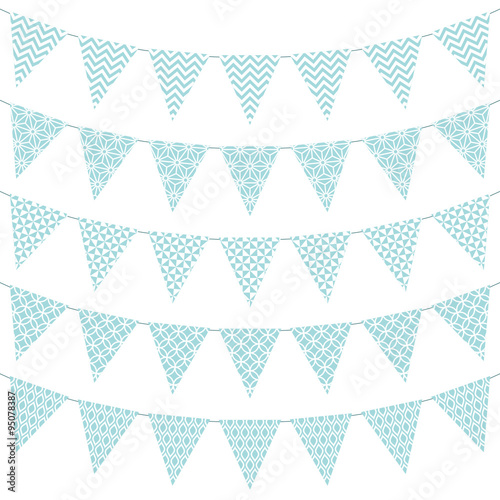5 Seamless Buntings Pattern Turquoise - 95078387