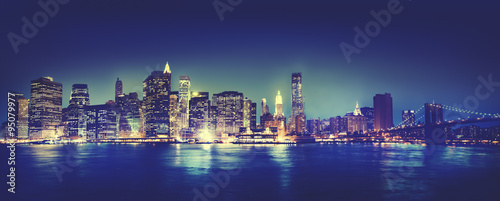Foto op Canvas Milan New York City Panorama Night Concept