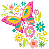 Spring Flowers and Butterfly Illustration. EPS 10 & HI-RES JPG Included