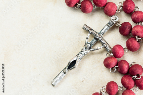 Poster Catholic rosary with copy-space