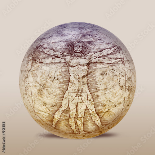 Vitruvianischer Mann, Leonardo da Vinci Poster