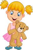 Cartoon little girl playing with teddy bear