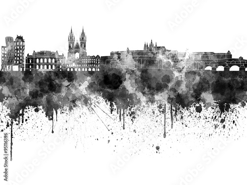 Poster Prague skyline in watercolor on white background
