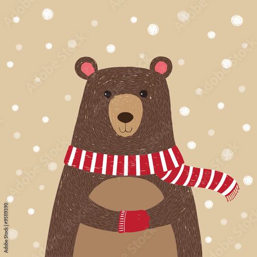 Hand drawn of cute bear wearing red scarf - 95119390